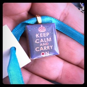 scrabble tile pendant signed keep calm carry on
